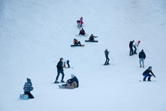 People on the skiing slope Royalty Free Stock Images