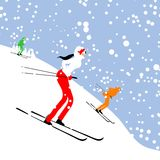 People skiing, winter mountain landscape for your Royalty Free Stock Photo