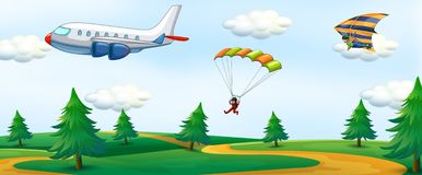 People with sky activity and landscape Vector Illustration