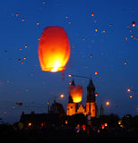 People and sky lanterns on Kupala Night Royalty Free Stock Images