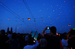 People and sky lanterns on Kupala Night Stock Photos