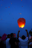 People and sky lanterns on Kupala Night Royalty Free Stock Photography