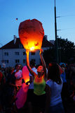 People and sky lanterns on Kupala Night Stock Images