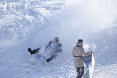 People on a sled Stock Photography