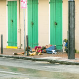 People sleep at the street in the French Quarter in New Orleans Royalty Free Stock Photos