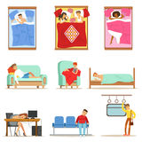 People Sleeping In Different Positions At Home And At Work, Tired Characters Getting To Sleep Series Of Illustrations Stock Photography