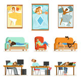 People Sleeping In Different Positions At Home And At Work, Tired Characters Getting To Sleep Set Of Illustrations Stock Image