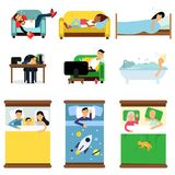 People sleeping at home, at work set, men and women sleeping in bed, sofa with kids, pets, together cartoon vector Stock Images