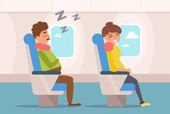 People are sleeping on the plane. Stock Photos