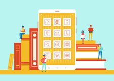 People Small in Size Phone Vector Illustration. People small in size sitting on books, phone screen with icons in centerpiece, modern sources versus old royalty free illustration