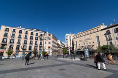 People in small square, Madrid Royalty Free Stock Photo