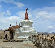 People at the small stupa in Ladakh, India Royalty Free Stock Photos