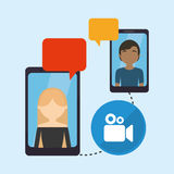 People smartphone sending message video conneted. Vector illustration eps 10 Royalty Free Stock Photos