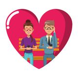 People with smartphones. People using smartphones and seated on wooden bench heart shaped frame vector illustration graphic design royalty free illustration