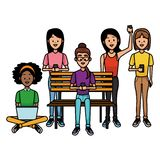 People with smartphones. People using smartphones and seated on wooden bench vector illustration graphic design royalty free illustration
