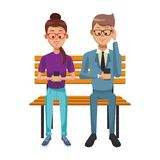 People with smartphones. People using smartphones and seated on wooden bench vector illustration graphic design stock illustration