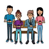 People with smartphones. People using smartphones and seated on wooden bench vector illustration graphic design vector illustration