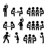 People on smartphones, walking and playing games, taking selfies icons Royalty Free Stock Image