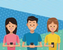 People with smartphones. Young people with smartphones over blie striped and dotted background vector illustration graphic design stock illustration