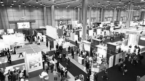 People at SMAU, business intelligence fair in Milano stock video