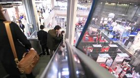 People at SMAU, business intelligence fair in Milano stock video footage