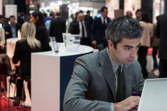 People at Smau exhibition in Milan, Italy Stock Image