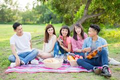 People happy at a picnic stock photo