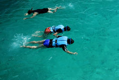 People snorkeling. Snorkeling - clear water as you can see the fish Royalty Free Stock Image