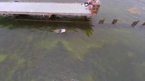 People snorkeling aerial video stock video footage
