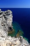 People snorkiling at a Secret cove Rhodes Greece Stock Image