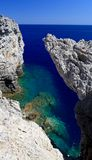 People snorkiling at a Secret cove Rhodes Greece Stock Images