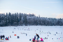 People at Snow Fields Stock Photos