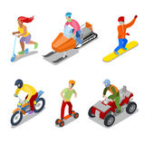 People on Snowboard, ATV and Motorcycle. Extreme Sports Royalty Free Stock Images