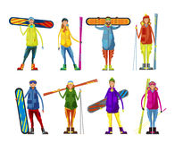People with a snowboard and skis. Royalty Free Stock Photo