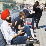 People on the soaring bridge closeup Royalty Free Stock Photography