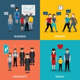 People social behavior patterns. People social behavior communication patterns four flat icons composition for university business family home situation vector royalty free illustration