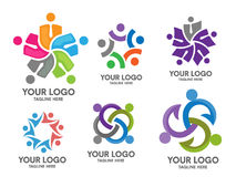 People social community logo set Royalty Free Stock Images