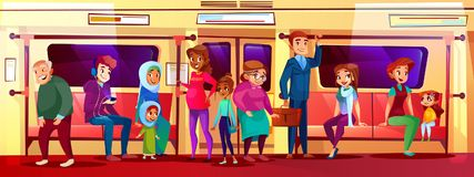 People social issue in subway vector illustration. Subway people social issue vector illustration of overcrowded train. Young boy and teen girl sitting, not royalty free illustration