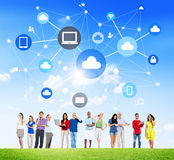 People with Social Media and Cloud Computing. Group Of Multi-Ethnic People Social Networking And Cloud Computing Symbols Above Stock Images