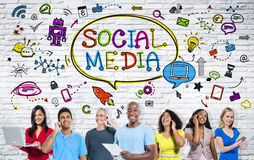 People with Social Media Communication Royalty Free Stock Image