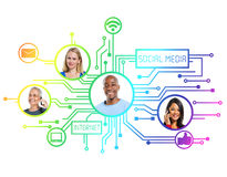 People with Social Media Connection Royalty Free Stock Image