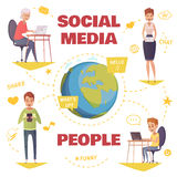 People In Social Media Design Concept Stock Image