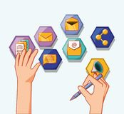 People social media. Hands with social media hexagon icons vector illustration stock illustration