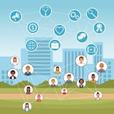 People and social media. At city vector illustration graphic design Stock Photos