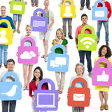 People with Social Media Security Concept Royalty Free Stock Photos