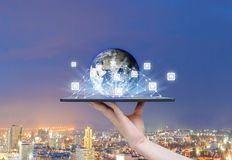 People social network the world of technology on tablets of Earth image provided by Nasa royalty free stock photography