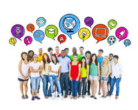 People with Social Networking Communications Icons Stock Photo