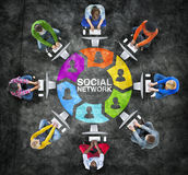 People Social Networking and Computer Network Concepts.  Stock Image