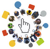 People Social Networking with Cursor Symbol Royalty Free Stock Photos