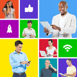People Social Networking. With digital devices royalty free stock photography